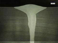 レーザ・アークハイブリッド溶接 ステンレス鋼 SUS304 10mmt 断面